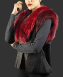 Fox Dyed Red Collar and Shoulder Trim Leather Vest with Leather Fringe