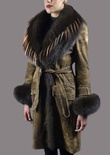Distressed Lamb Coat with Fox Tuxedo Trim and Cuff with Russian Raccoon Inserts