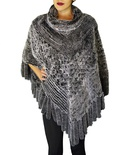 Grey Chinchilla-Rex Rabbit Knitted Shawl B/L 32""