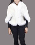 Ivory Knitted Mink with White Fox Trim