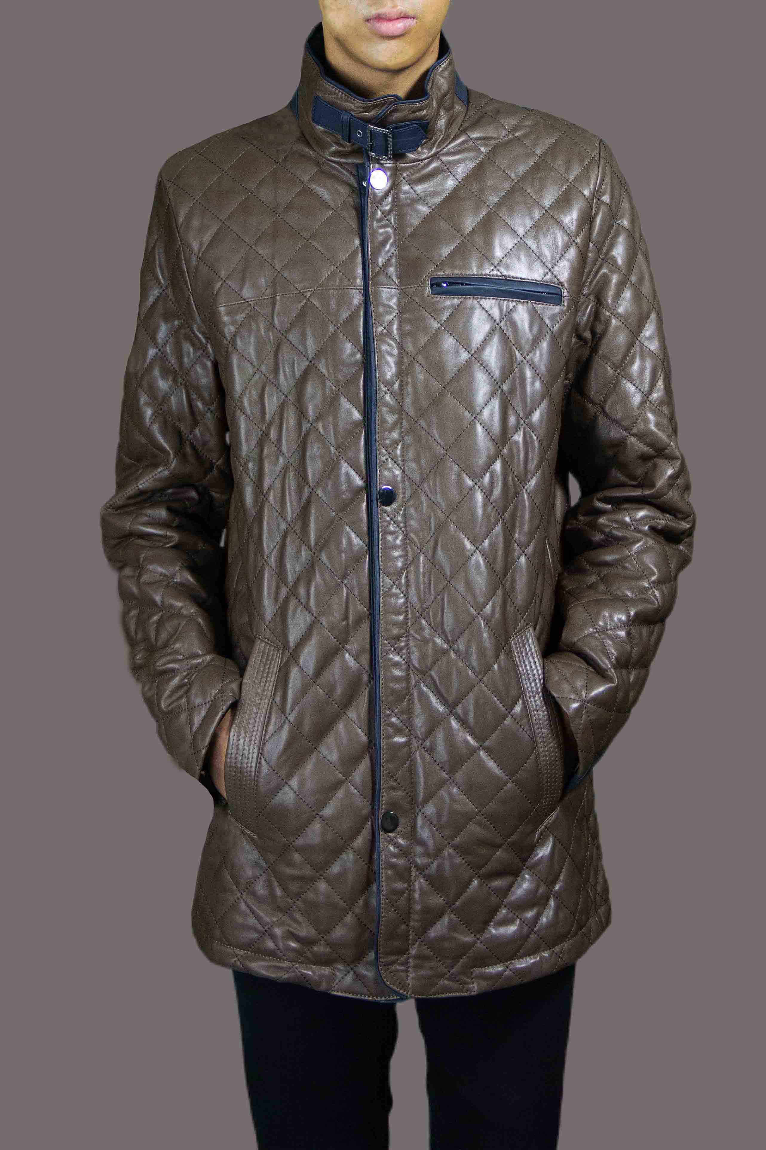 Italian Nappa Lamb Quilted with Navy Accents B/L 31""