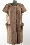 Lamb Shearling Long-Paneled Vest with Natural Mink Shoulders and Pocket Trim