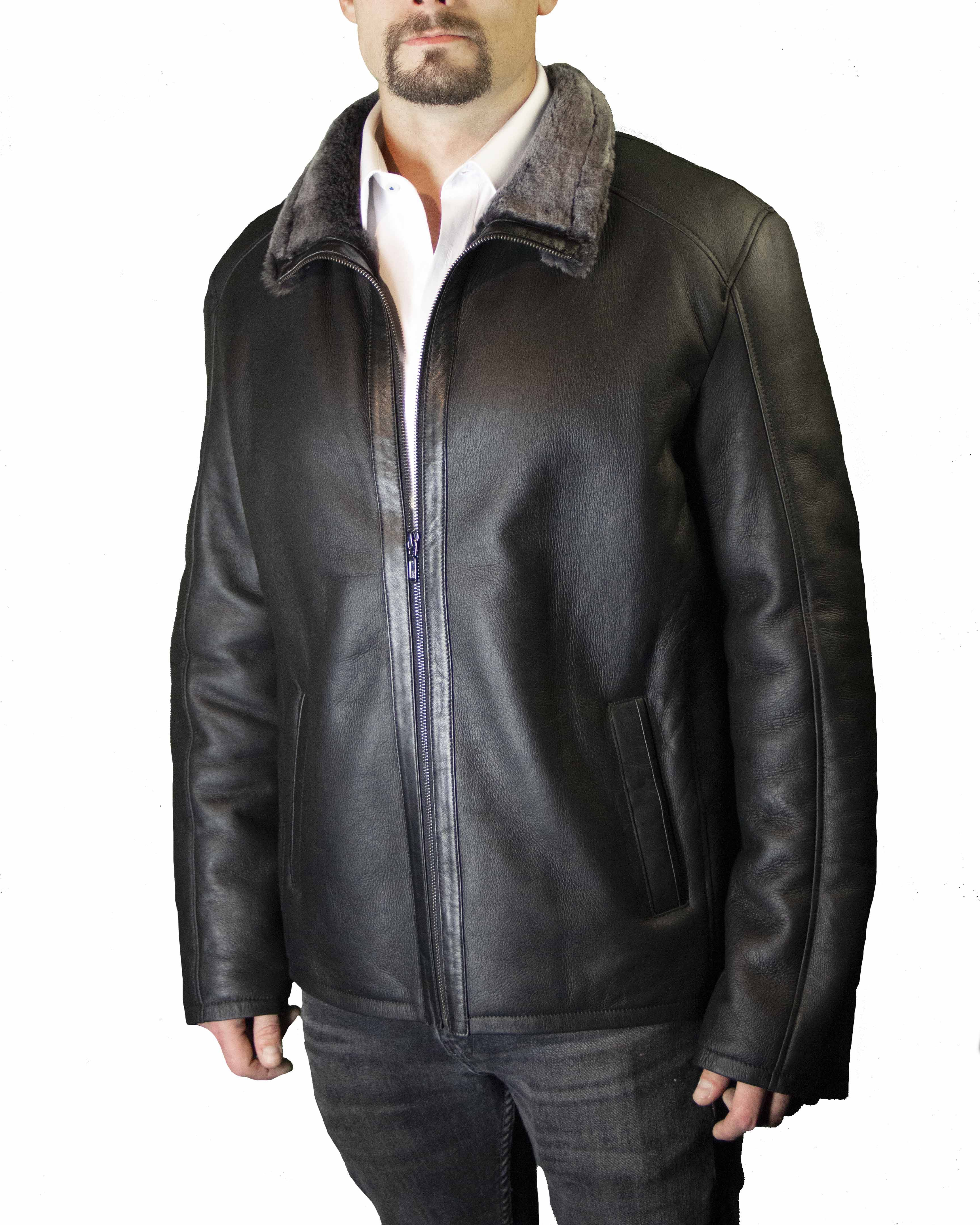 Spanish Merino Lamb Shearling Zipper-Front Jacket B/L 28""