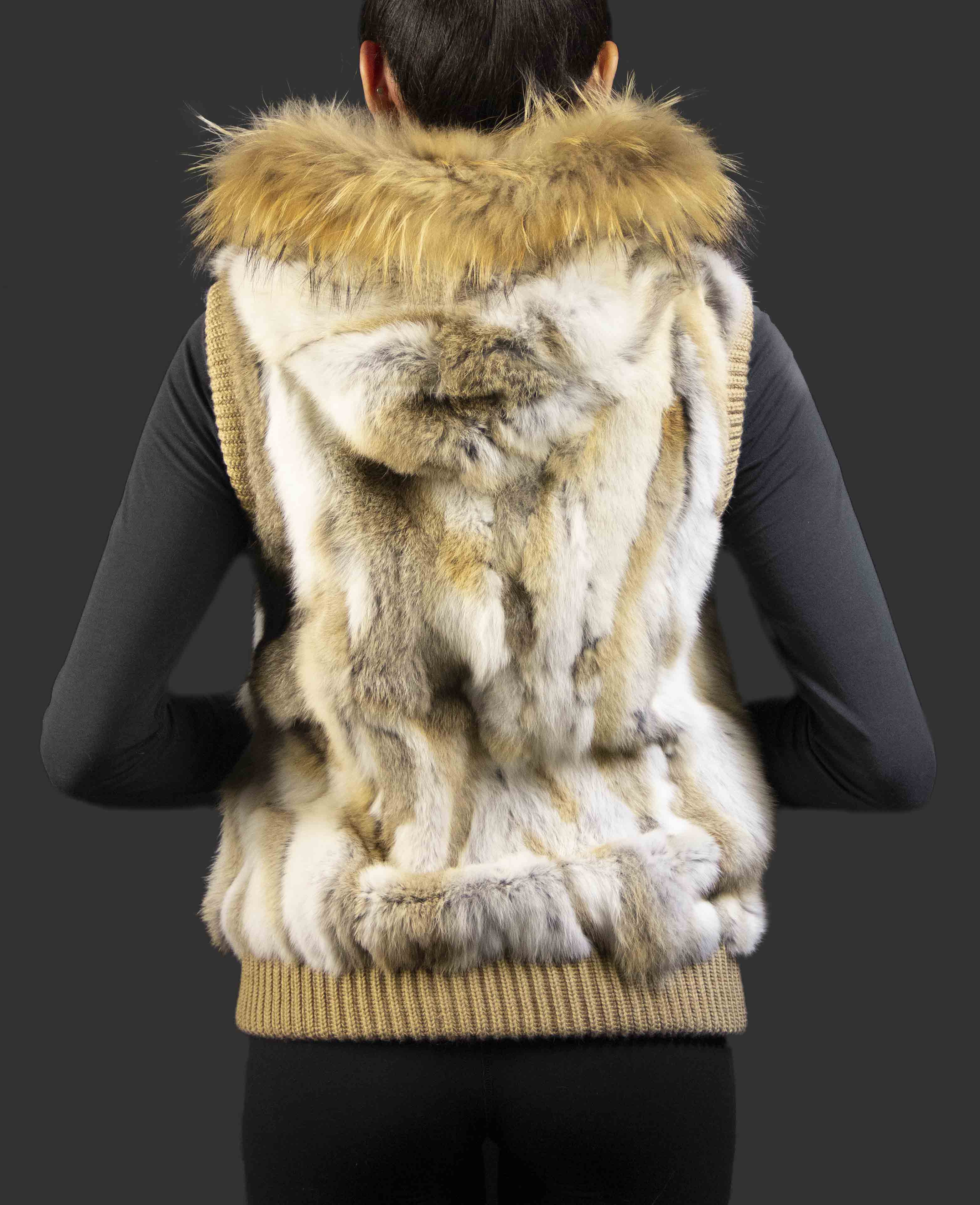 Natural Brown Tone Rabbit Sectional Vest with Russian Raccoon Trimmed Hood