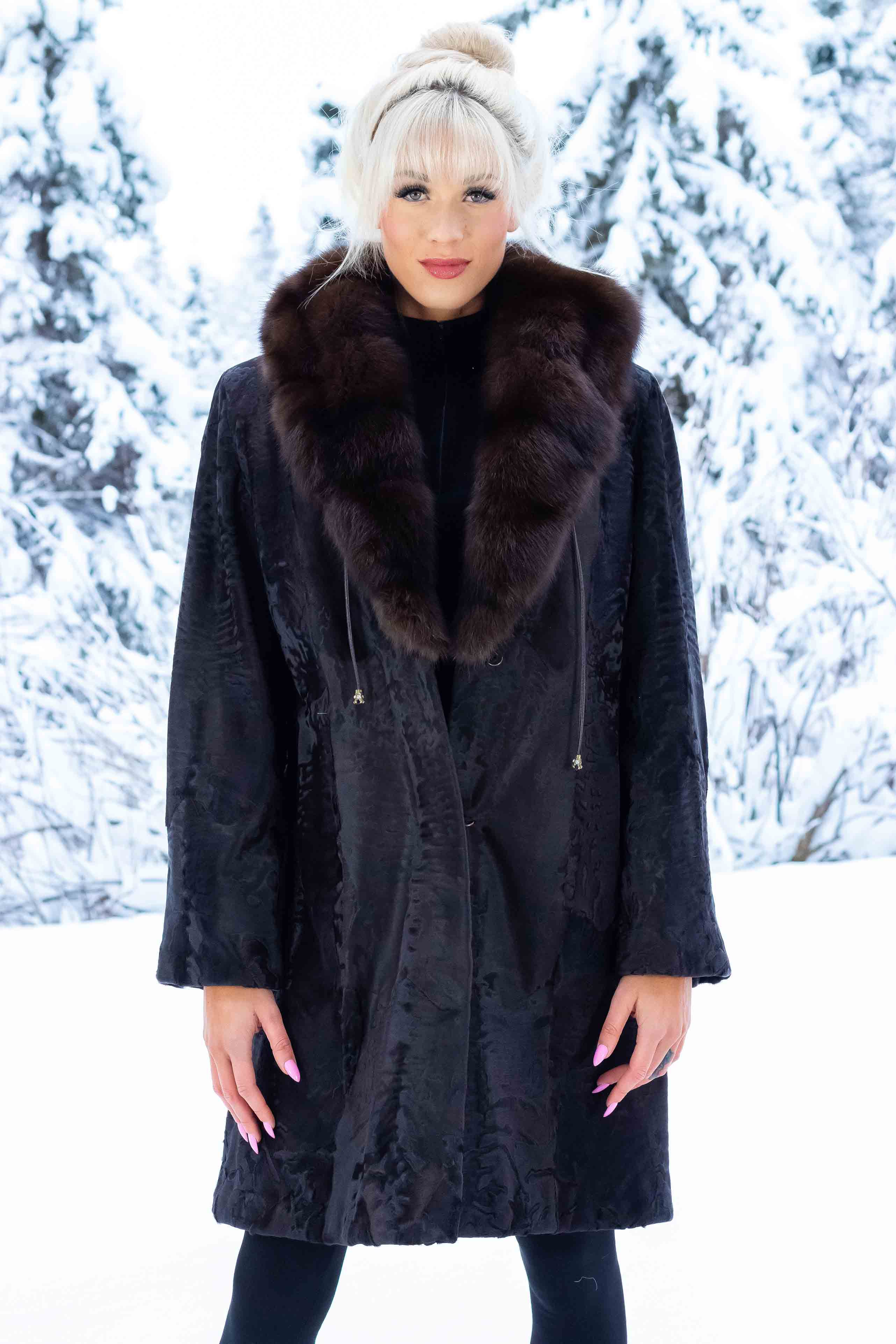 Swakara Coat with Russian Sable Cinch-Hood