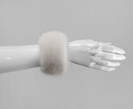 C1 - White :  Fox Fur Cuffs (1 pair)