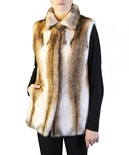 Bleached Blush Cross Mink Reversible to Taffeta Vest