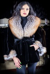 Sheared Mink Belted Jacket with Cross Fox, Shawl Collar and Bell Sleeves