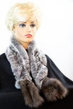 Knitted Chinchilla and Sable Ruffle Scarf with Elastic