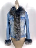 Denim Jacket With Denim color Fox Collar and Tuxedo Front