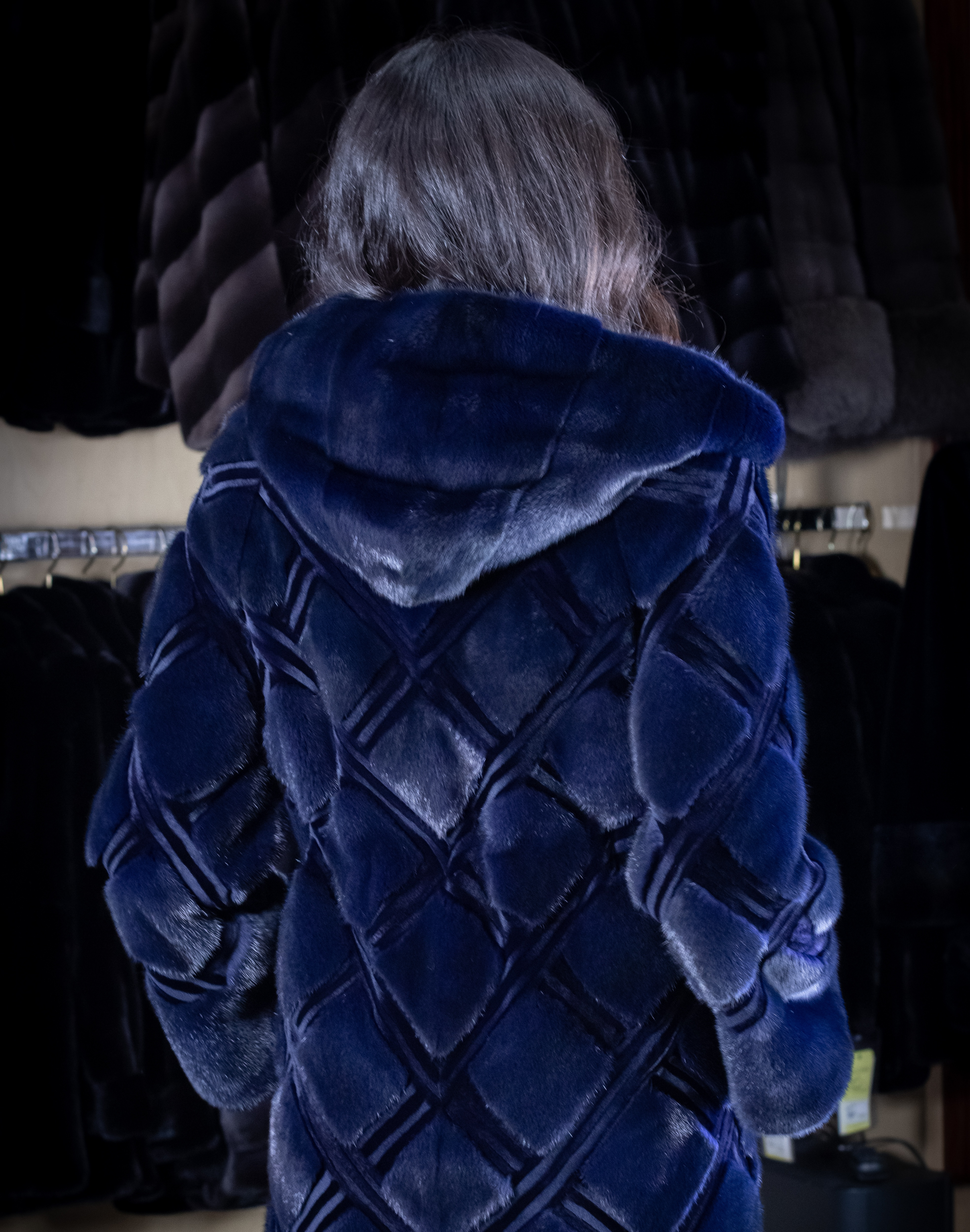 Dyed Mink Hooded Jacket with Criss-Cross Laser Cut Design