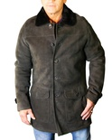 Spanish Merino Suede Finish Button-Down Jacket B/L 32""