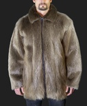 Natural Blonde Full-Skin Beaver Zipper-Front Jacket with Adjustable Collar