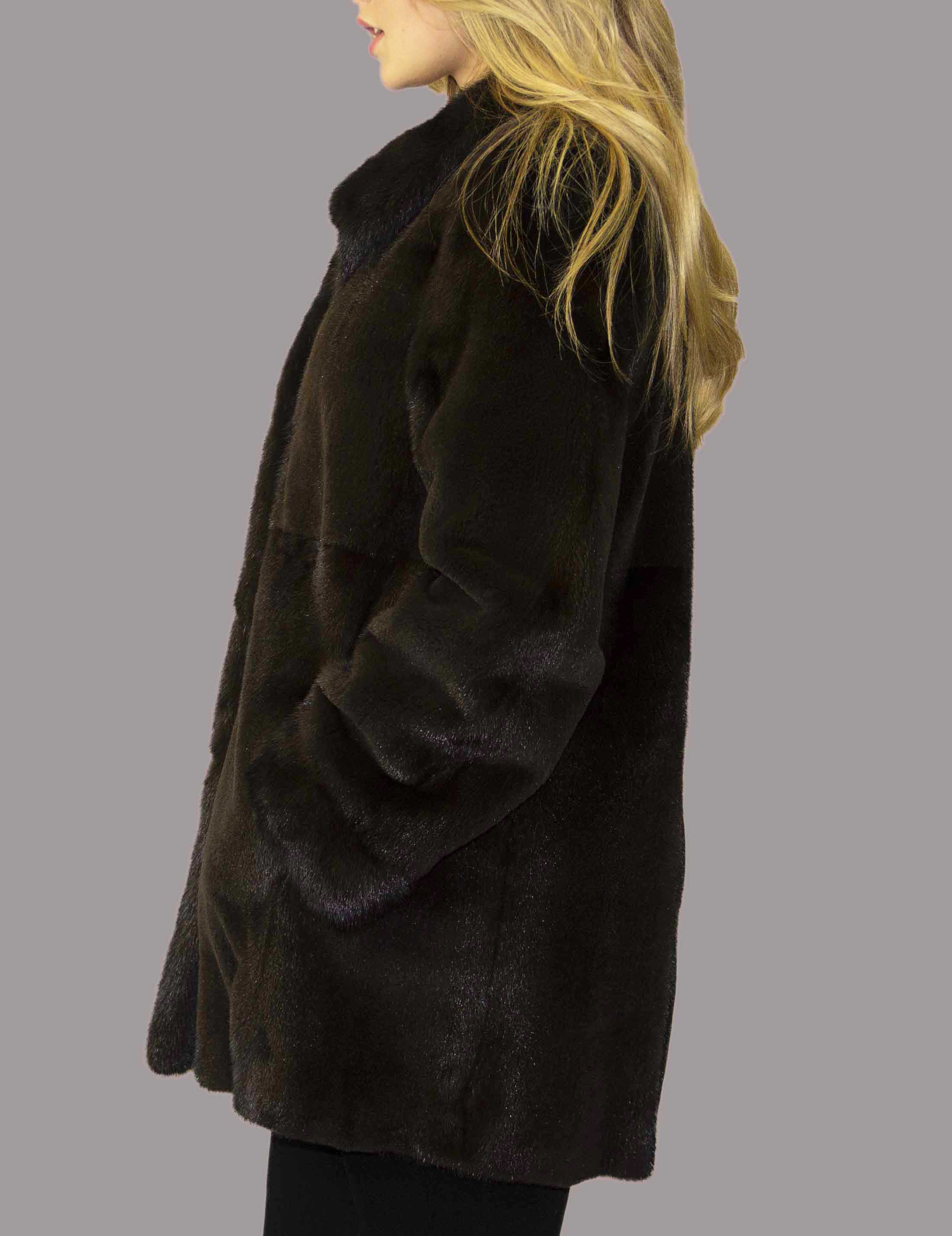 Semi Sheared Mink Coat with Natural Mink Tuxedo Trim and Cuff Reversible to Taffeta