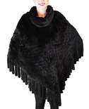 Black Chinchilla-Rex Rabbit Knitted Shawl B/L 32""
