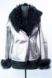 Spanish Merino Lamb Metallic Embossed Jacket with A Line Zipper