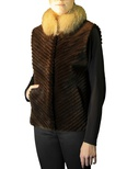 Sheared Beaver Vest with Crystal Fox Collar
