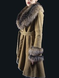 Shearling Stroller with Crystal Fox Collar and Banded Cuff B/L 41""