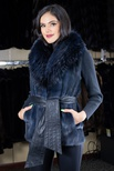 Dyed Mink Vest with Dyed Silver Fox Shawl Collar and Italian Lamb Belt