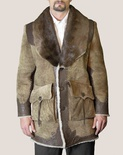 Shearling Coat with River Otter Collar and Cowhide Accents B/L  34""