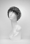 Black Snowtop : Knitted Rabbit Fur Headband, Stretch for comfort