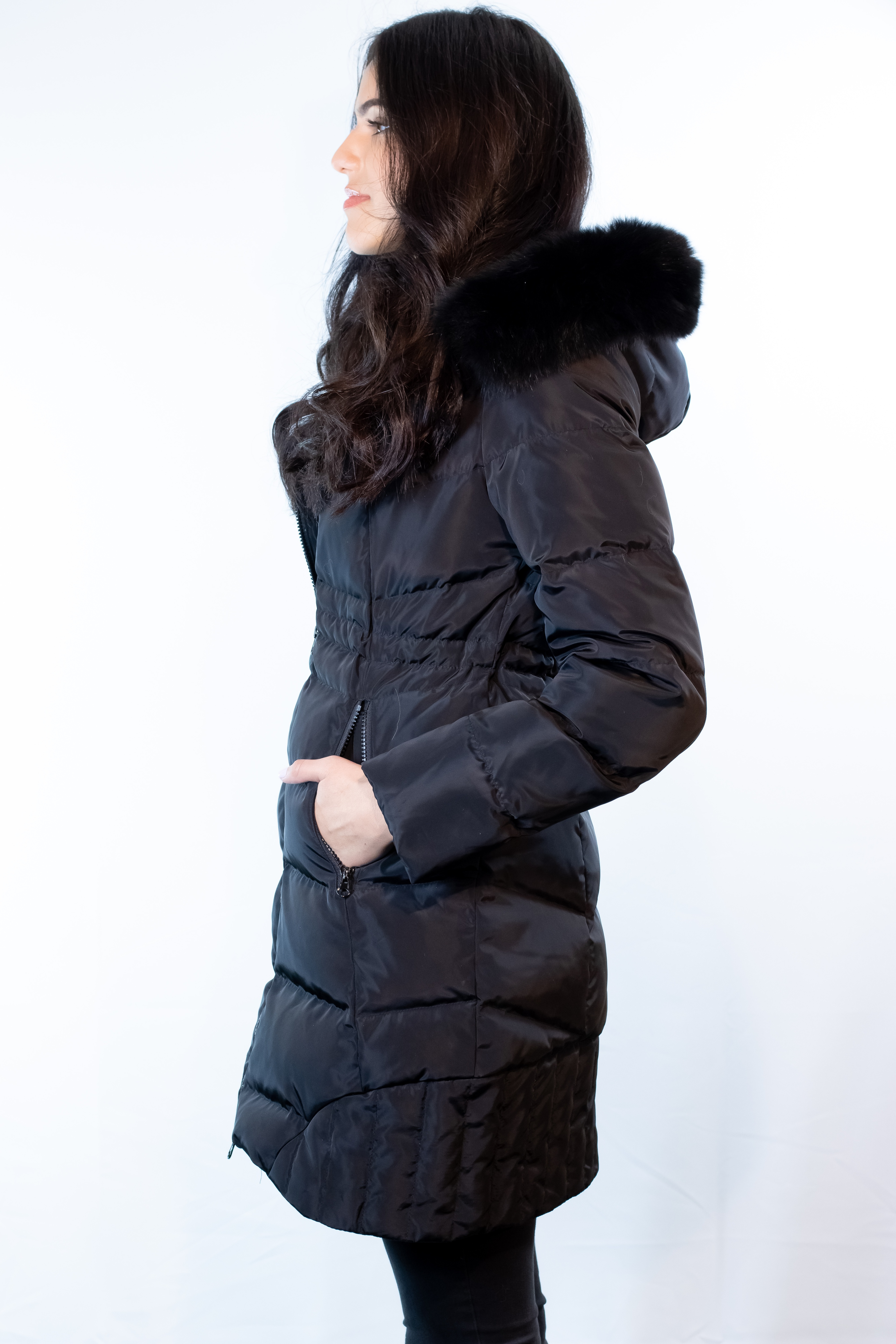 Down Jacket with Fox Trim Detachable Hood