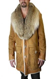 Shearling and Nappa Lamb Jacket with Coyote Shawl Collar