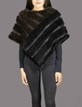 Mahogany Mink and Black Poncho with Knitted Leather