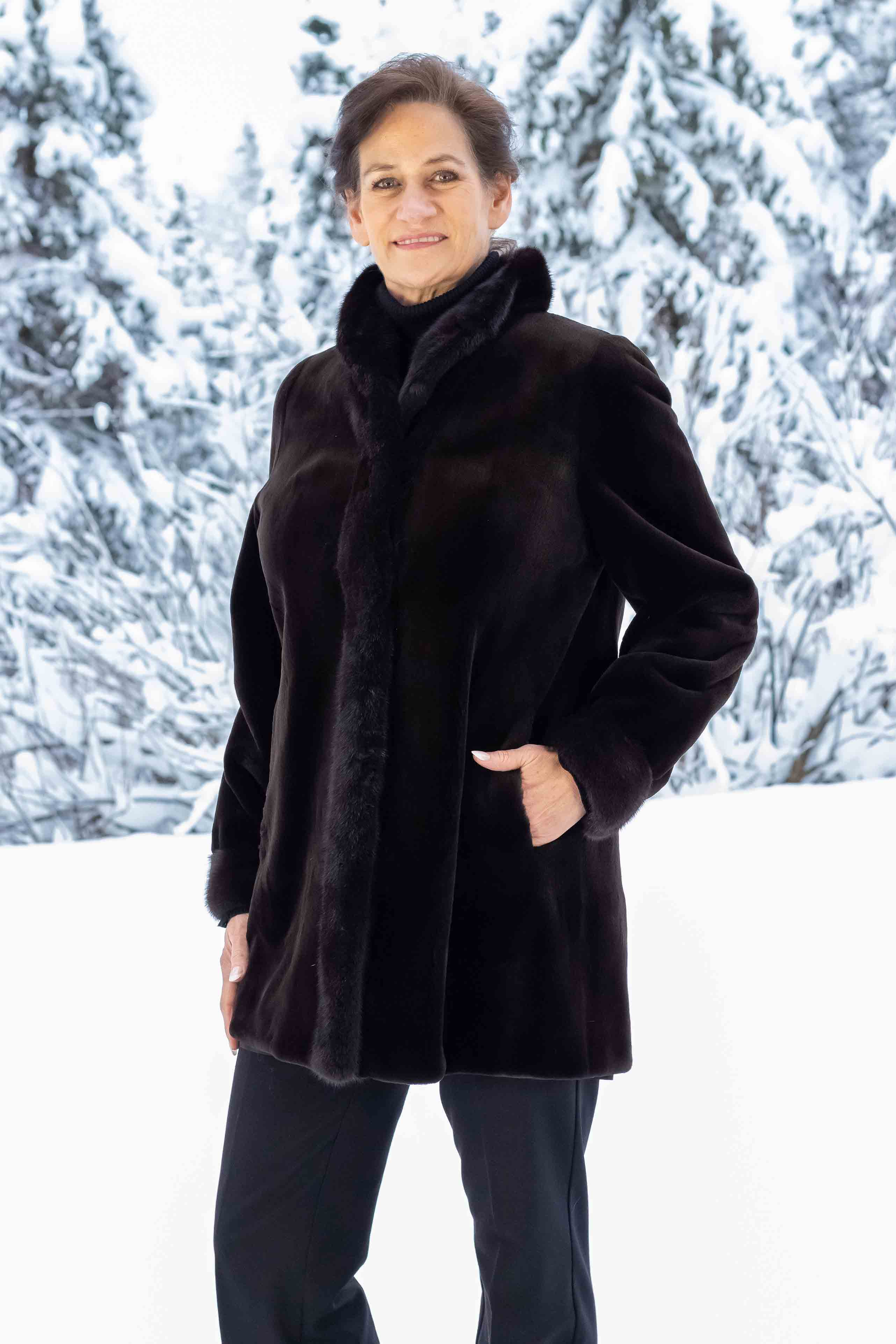 17f8a78d27d Sheared Mink Coat with Natural Mink Collar and Cuff Reversible to Taffeta